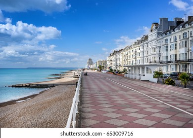 Looking along the Grand Parade from Hastings to St Leonards on sea in Sussex