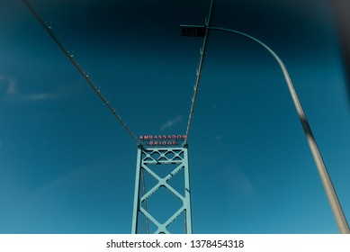 Looking up at the Ambassador Bridge while Crossing into Canada