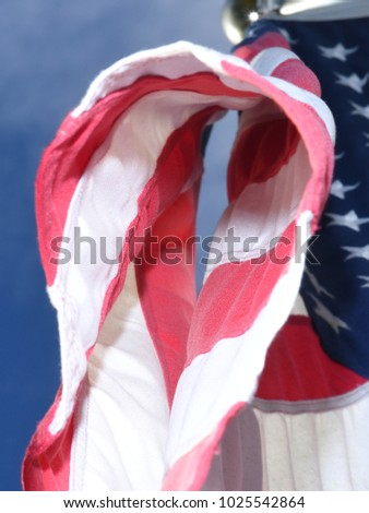 Looking Up at an American Flag