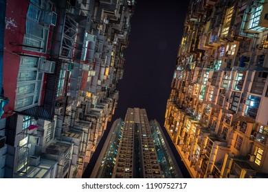Looking up at apartment buildings in Hong Kong