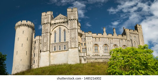 Looking up at Arundel Castle on a warm summer's day. Located in Arundel, West Sussex, England. Taken on 21st August 2019