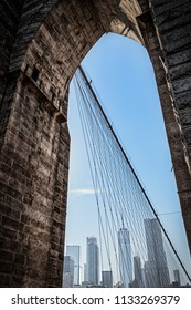 Looking back at New York City from the Brooklyn Bridge.