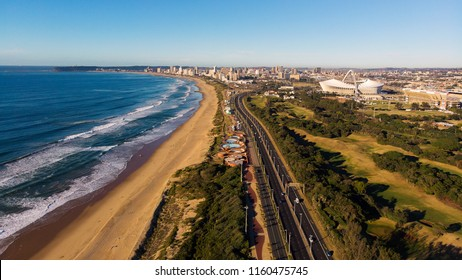 Looking back on the Durban Skyline from the Blue Lagoon Beach, Durban, South Africa