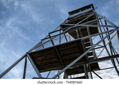 Looking up at the Bald Mountain fire tower located in the Adirondack Mountains.