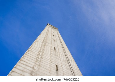 Looking up from the base of Sather tower (the Campanile) on a blue sky background, UC Berkeley, San Francisco bay, California