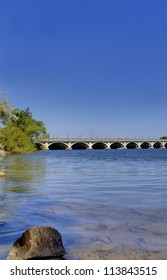 Looking from Belle Isle in Detroit Michigan towards the Belle Isle Bridge on a summer day.