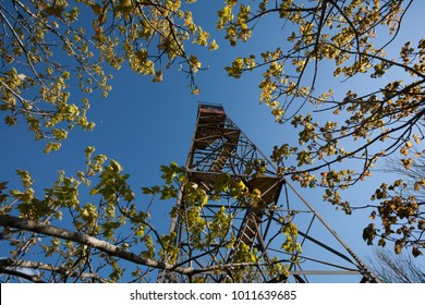 Looking up from below Shuckstack Fire Tower, Great Smoky Mountains National Park, North Carolina, USA.