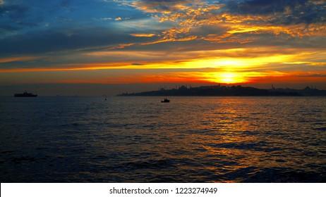 Looking bosphorus sundown, red sundown