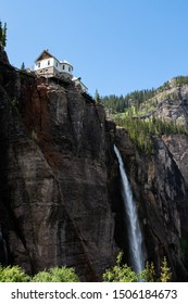 Looking up at Bridal Veil Falls from Black Bear Pass in Telluride, Colorado