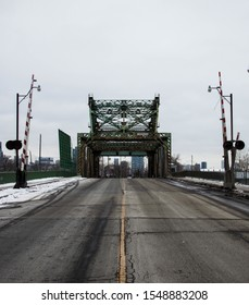 Looking at a bridge in the city during the winter