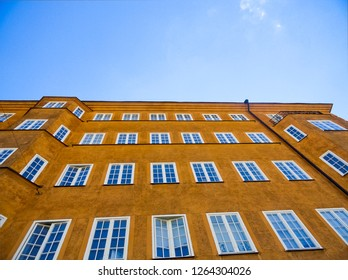 Looking Up at a Building with Blue Sky