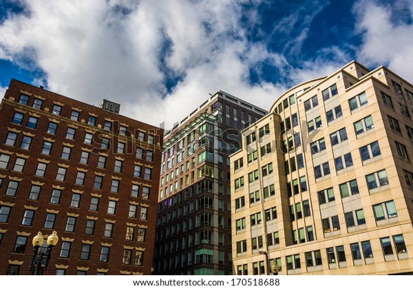 Looking up at buildings in Boston, Massachusetts.