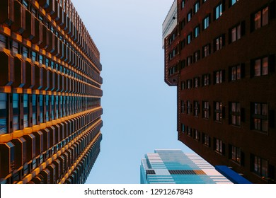 Looking up at buildings in Manhattan, New York, USA