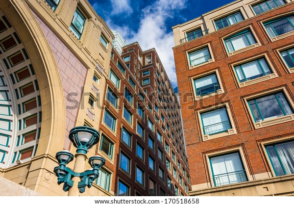Looking up at buildings in Rowes Wharf, in Boston, Massachusetts.