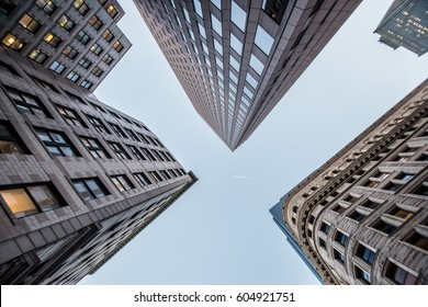 Looking up at business buildings in downtown Boston, USA