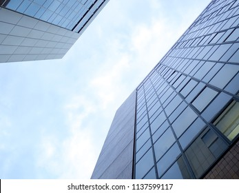 Looking up at business buildings in downtown Taipei