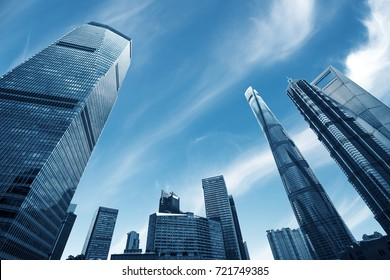 Looking up at business buildings in Lujiazui,Shanghai,China