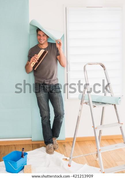 Looking Camera Humorous Handyman Posing Wallpaper Stock Photo Edit Now 421213909