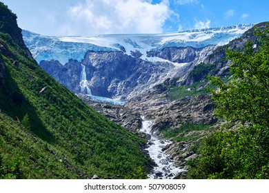 Looking up the canyon to Folgefonna Glacier in Hardanger Norway