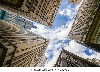 Looking up at Chicago's vintage building in financial district, IL, USA