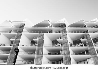 Looking up at city apartments