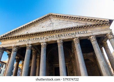 Looking up at the columns and facade of the Roman Pantheon, Rome, Italy.