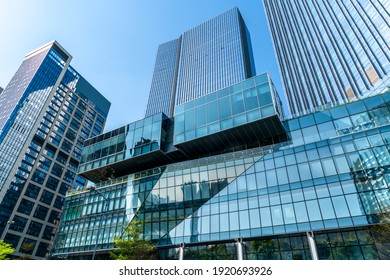 Looking up at the commercial buildings in downtown Guangzhou, Ch