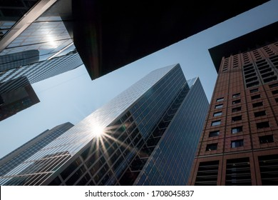 Looking up in the concrete jungle in Frankfurt, Germany.