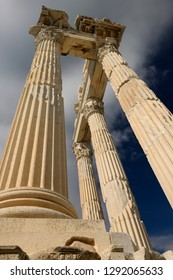 Looking up to the crumbling corinthian colums at ancient Pergamon at Bergama, Izmir, Turkey - November 11, 2012