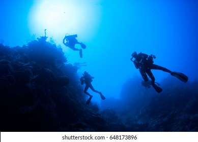 Looking up from the depths, the silhouette of three scuba divers can be seen against an underwater wall. The warm water is in Grand Cayman in the Caribbean which offers deep dives to the adventurous