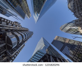 Looking directly up at the skyscrapers in London's financial district