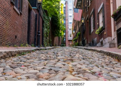 Looking Down Acorn Street in historic Boston