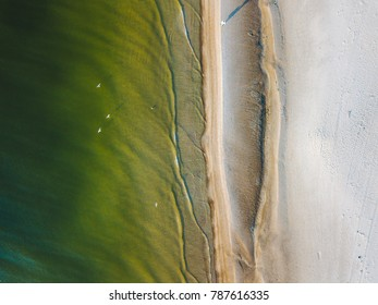 Looking down at the beach. Drone aerial view. Baltic sea