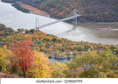 Looking down at the Bear Mountain Bridge and Hessian Lake from Perkins Memorial Drive on Bear Mountain.