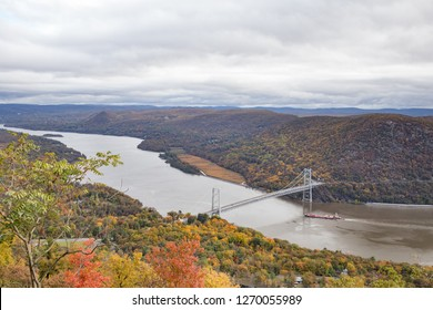 Looking down at the Bear Mountain Bridge and the Hudson River from Memorial Drive on Bear Mountain.