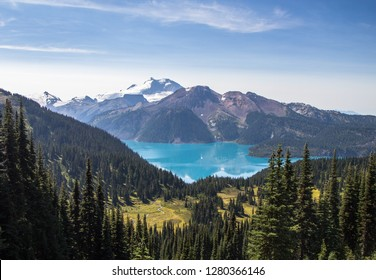 Looking down from Black Tusk at the turquoise waters of Garibaldi Lake in British Columbia, Canada.