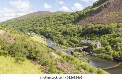 Looking down from Caban Coch Dam, Elan Valley, Wales, UK, with the Visitor Centre in the background