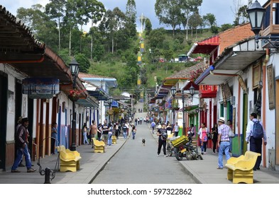 Looking Down Calle Real - February 2017 - Salento, Colombia