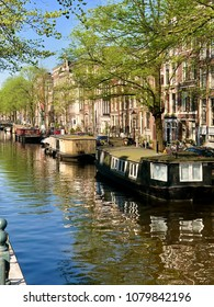Looking down a canal in Amsterdam lined with houseboats in the water and homes along the road.