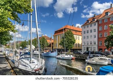 Looking down the canals of Christianshavn in Copenhagen