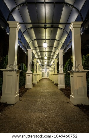 Looking down a covered lighted canopy. & Looking Down Covered Lighted Canopy Stock Photo (Edit Now ...
