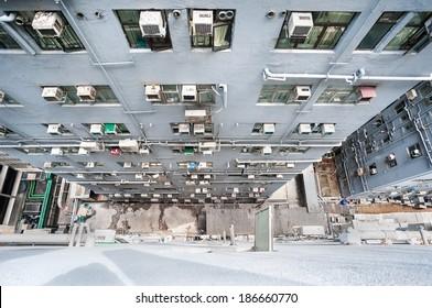 Looking down at the dense buildings and air-con units of Chungking Mansions, Hong Kong