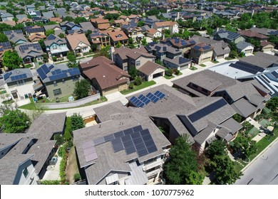 Looking down fromSolar panel rooftop one the leading renewable and sustainable energy Efficiency neighborhood in Austin, Texas the Mueller suburb is covered in rooftop solar energy