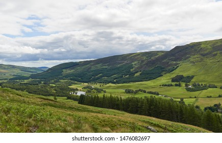 Looking down Glen Clova Valley and the River South Esk on one warm Summers Day from the Footpath to Loch Brandy in Scotland.