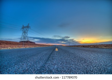 Looking Down the Highway at Sunset in Arizona