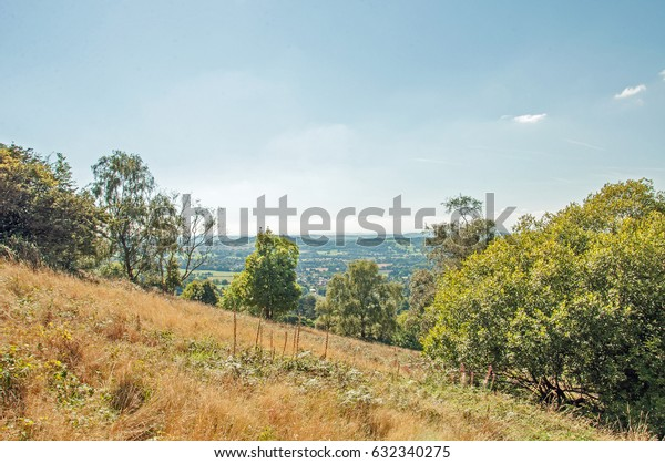 Looking down the hillside on Malvern hills in Worcestershire, England.