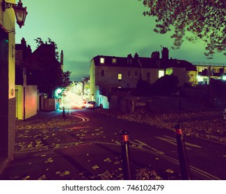 Looking Down Hope Chapel Hill and Hotwell Road Bristol by night, English Urban Autumn Night Photography