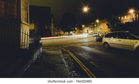 Looking Down Hotwell Road Bristol by night from Dowry Square, English Urban Autumn Night Photography