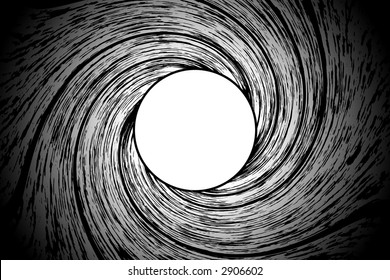Looking down a from inside a gun barrel