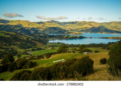 Looking down into Akaroa Bay at last light